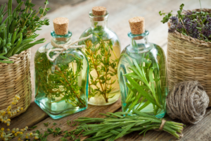 image of jars with water and herbs in